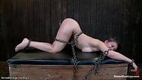 Bound brunette slave gets butt caned