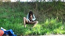 Public nudity and ebony amateur teens outdoor flashing in a park with exhibition Preview