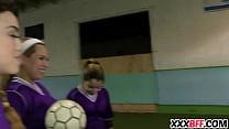 Lesbian soccer team fucks the noob thumbnail