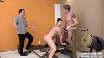Hairy brunette fucks her personal trainer in front of her husband Vorschaubild