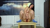 Busty milf in socks masturbates in different places in the room. Shaved pussy riding a rubber dick and mature vagina orgasm. Homemade fetish.