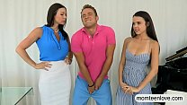 Kendra Lust and Shae Summers horny trio on the couch