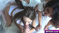 Flirty teen BFFs  fucked by a hot neighbor preview image