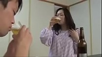 Japanese Wife with Young Boy Drink And Fuck