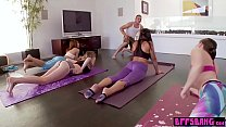 Bisexual yoga teens stop workout to fuck the cameraman
