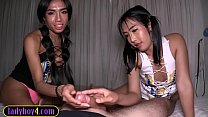 Teen ladyboys sucking and jerking a lucky white cock Vorschaubild