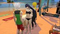 Hinata Hyuga Follada en la playa por el maestro Naruto Cornudo Netorare صورة