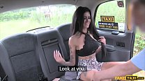 Brunette gets her rough anal treatment in a fake taxi pornhub video