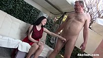Hot Babe Sucks Old Cock in the Backyard - CFNM