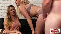 Two hot british blondes watch loser jerk off