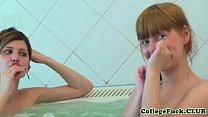 College lesbian threeway with Aspen and Kveta