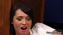 Kinky bombshell gets sperm load on her face eating all the sperm
