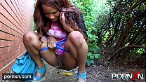 Ebony Milf Flashing in public Thumbnail