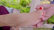 Pretty babe foot tugging