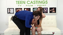 Bound teen Kristen Lee fucked and facialized on casting thumbnail