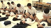 JAV synchronized schoolgirl missionary sex led by teacher