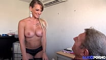 Sexy blonde Tiffany gives her pussy for a job