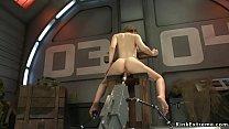 Busty brunette soldier fucking machine