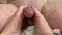 Milf Mom Jerks Cock off with Pretty Toes and Feet