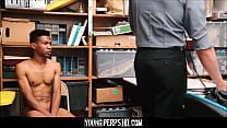 Black Twink Caught Shoplifting Fucked By White Security Officer