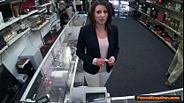 MILF wife sucks and fucks Pawnshop owners big cock