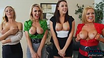 Four busty employees surprise the boss in his o...