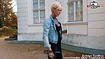 German blonde skinny tattoo Milf at EroCom Date Blinddate public pick up and POV fuck