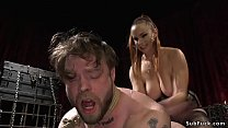 Big tits domme spanks and anal fucks guy