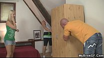 European blonde  jumps at his cock as her BF g ock as her BF gone