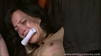 Extreme slave Elise Graves tit tormented and electro punished in hard double dom