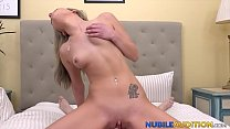 Nubile beauty is pounded doggy and cowgirl style on casting