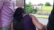 Hot busty girl public sex bus stop threesome with 2 guys with vaginal and oral
