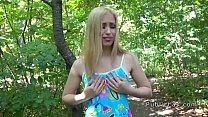 Blonde amateur flashing titties outdoors