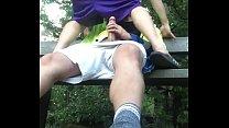 Bareback park public creampie