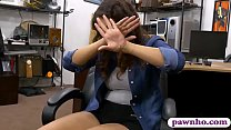 Brunette babe drilled by horny pawn dude