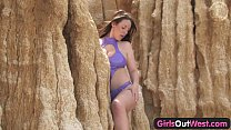 Image: Girls Out West - Busty Aussie babe fucking a dildo by the sea