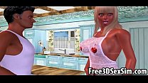 Sexy 3D cartoon housewife getting fucked hard