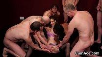Naughty sex kitten gets jizz load on her face swallowing all the semen thumbnail