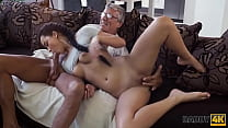 DADDY4K. Brunette satisfies her sexual needs using fuckstick of BFs dad