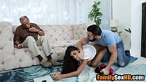 Teen niece fucks her uncle next to s. dad