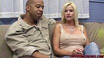 Busty MILF Lauren on her knees slobbering monst...