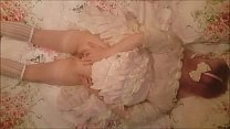 Ts Bunny in Houston -Cute little Transsexual Sissy Trap in frilly l. dress pulls down her bloomers, shows off her cock, and masturbates till she cums all over her own petticoats