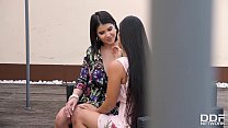 Hot lesbians Andreina De Luxe & Lady Dee lick each other's wet pussies