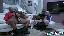 Hot interracial groupsex after the prom night