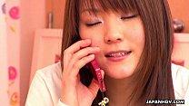 Japanese girl having phone sex