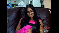Stunning Peruvian Latina beauty with huge perfect tits getting fucked in her first video