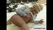 Teen Masturbating With A Toy During Winter