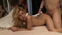 Skinny flexible blonde Caprice Capone rides big dick for creampie