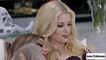 Blonde has a 3some with her latina ex and tattooed fiancee