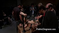Strapped brunette fondled and gangbang fucked in public thumbnail